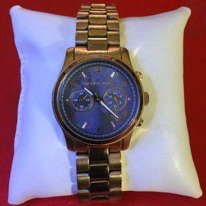 Michael Kors Rose Gold & Blue Watch